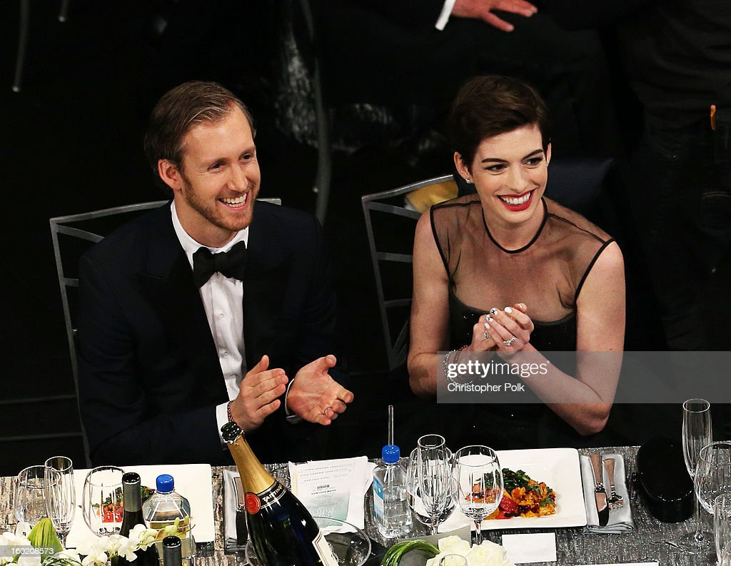 Actress Anne Hathaway (R) and Adam Shulman attend the 19th Annual Screen Actors Guild Awards at The Shrine Auditorium on January 27, 2013 in Los Angeles, California. (Photo by Christopher Polk/WireImage) 23116_012_1024.jpg