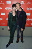 Actress Anne Hathaway and Adam Shulman attend the 'Song One' premiere during the 2014 Sundance Film Festival at Eccles Center Theatre on January 20...