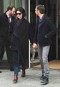 Actress Anne Hathaway and Adam Shulman is seen in Soho on January 21 2015 in New York City