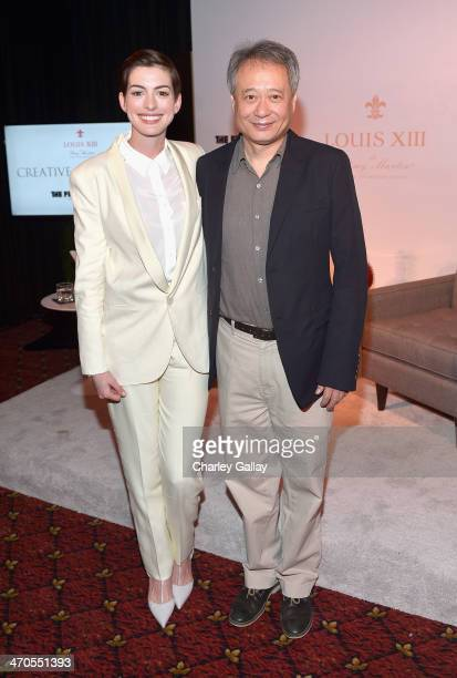 Actress Anne Hathaway and director Ang Lee attend LOUIS XIII and The Film Foundation Creative Encounter at Charles Aidikoff Screening Room on...
