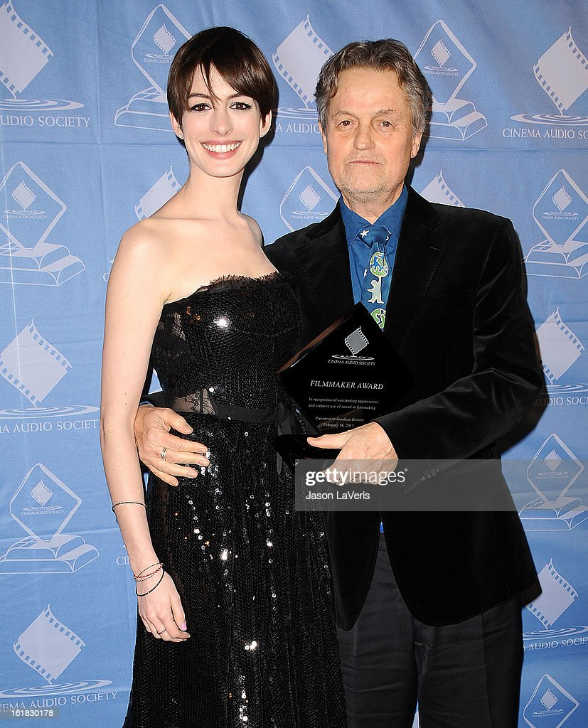 Actress <a gi-track='captionPersonalityLinkClicked' href=/galleries/search?phrase=Anne+Hathaway+-+Actrice&family=editorial&specificpeople=11647173 ng-click='$event.stopPropagation()'>Anne Hathaway</a> and director <a gi-track='captionPersonalityLinkClicked' href=/galleries/search?phrase=Jonathan+Demme&family=editorial&specificpeople=206357 ng-click='$event.stopPropagation()'>Jonathan Demme</a> attend the 49th annual Cinema Audio Society Guild Awards at Millennium Biltmore Hotel on February 16, 2013 in Los Angeles, California.