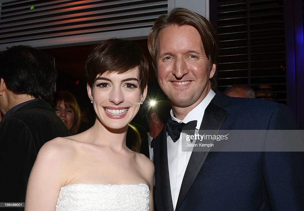 Actress Anne Hathaway and director Tom Hooper attend the NBCUniversal Golden Globes viewing and after party held at The Beverly Hilton Hotel on January 13, 2013 in Beverly Hills, California.