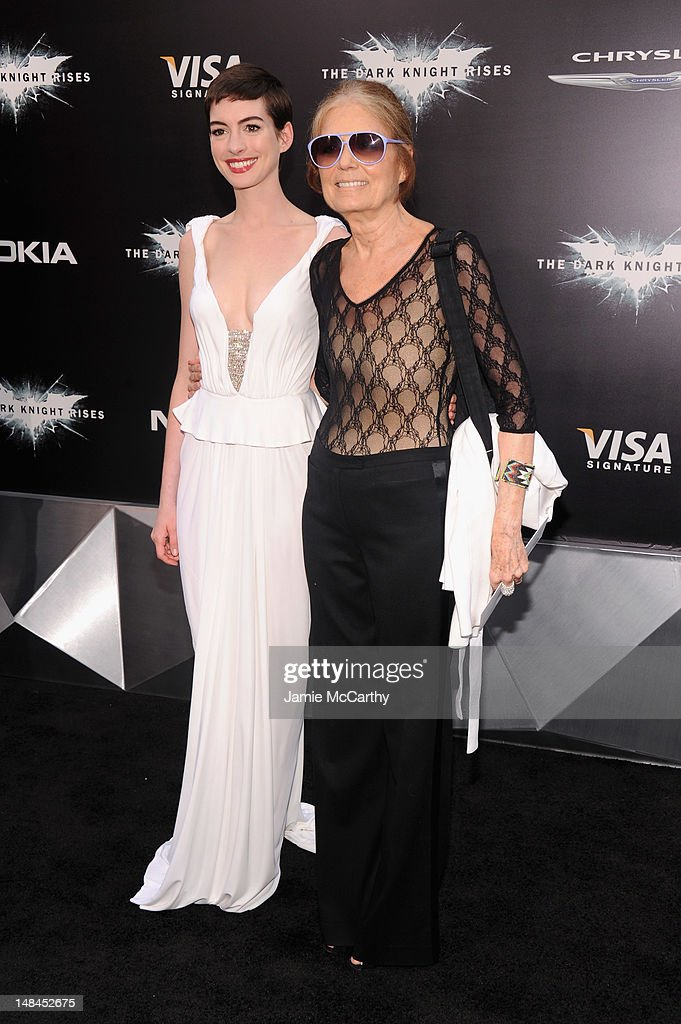 Actress Anne Hathaway and Gloria Steinem attend 'The Dark Knight Rises' premiere at AMC Lincoln Square Theater on July 16 2012 in New York City