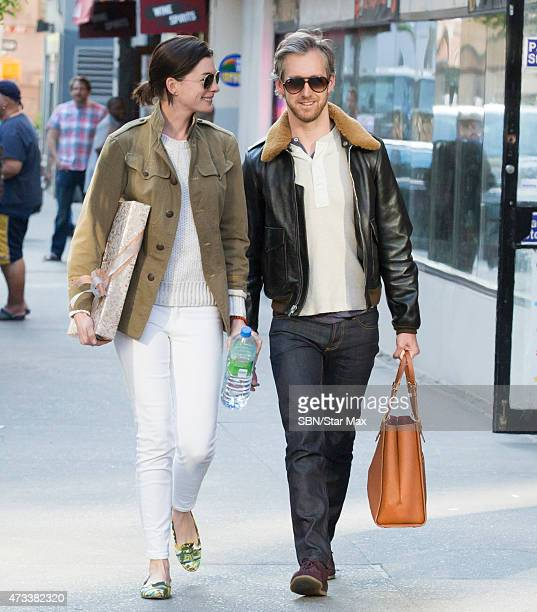 Actress Anne Hathaway and husband Adam Shulman are seen on May 14 2015 in New York City