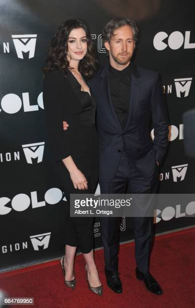 Actress Anne Hathaway and husband Adam Shulman arrive for the Premiere Of Neon's 'Colossal' held at the Vista Theatre on April 4 2017 in Los Angeles...