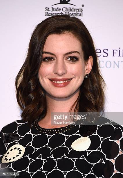 Actress Anne Hathaway arrives at LA Art Show And Los Angeles Fine Art Show's 2016 Opening Night Premiere Party Benefiting St Jude Children's Research...