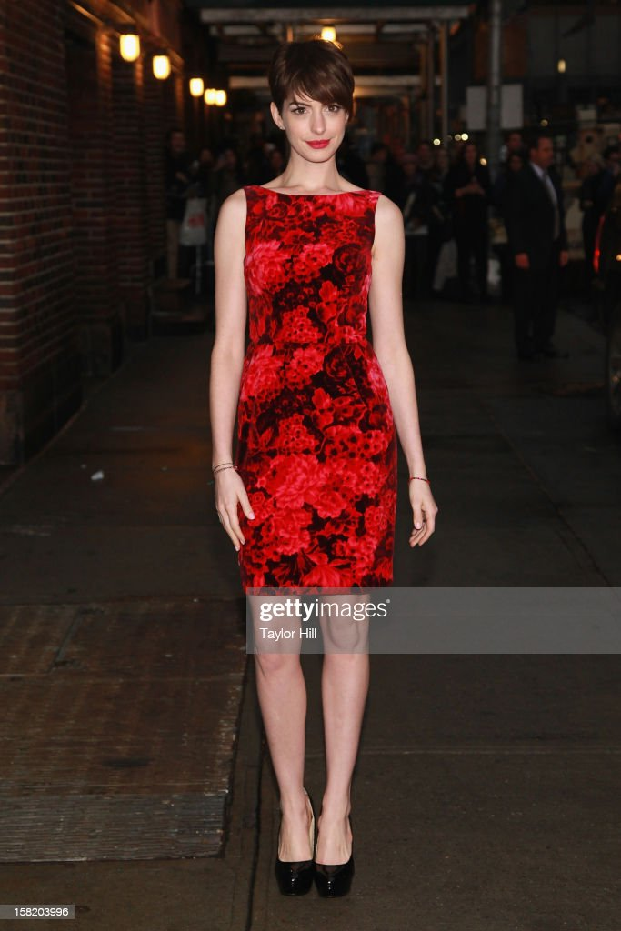 Actress Anne Hathaway arrives at 'Late Show with David Letterman' at Ed Sullivan Theater on December 10, 2012 in New York City.