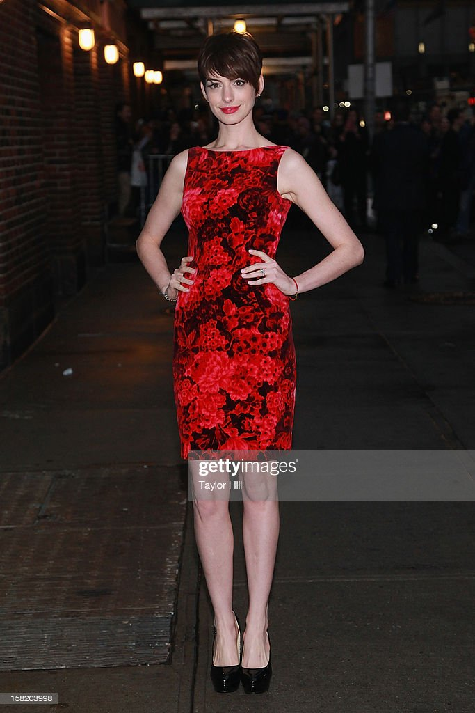Actress <a gi-track='captionPersonalityLinkClicked' href=/galleries/search?phrase=Anne+Hathaway+-+Actress&family=editorial&specificpeople=11647173 ng-click='$event.stopPropagation()'>Anne Hathaway</a> arrives at 'Late Show with David Letterman' at Ed Sullivan Theater on December 10, 2012 in New York City.
