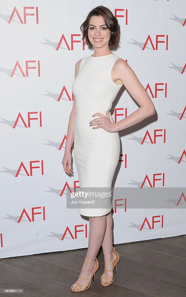 Actress <a gi-track='captionPersonalityLinkClicked' href=/galleries/search?phrase=Anne+Hathaway+-+Attrice&family=editorial&specificpeople=11647173 ng-click='$event.stopPropagation()'>Anne Hathaway</a> arrives at the 15th Annual AFI Awards at Four Seasons Hotel Los Angeles at Beverly Hills on January 9, 2015 in Beverly Hills, California.