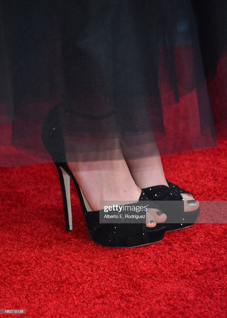 Actress Anne Hathaway (shoe and pedicure detail) arrives at the 19th Annual Screen Actors Guild Awards held at The Shrine Auditorium on January 27, 2013 in Los Angeles, California.