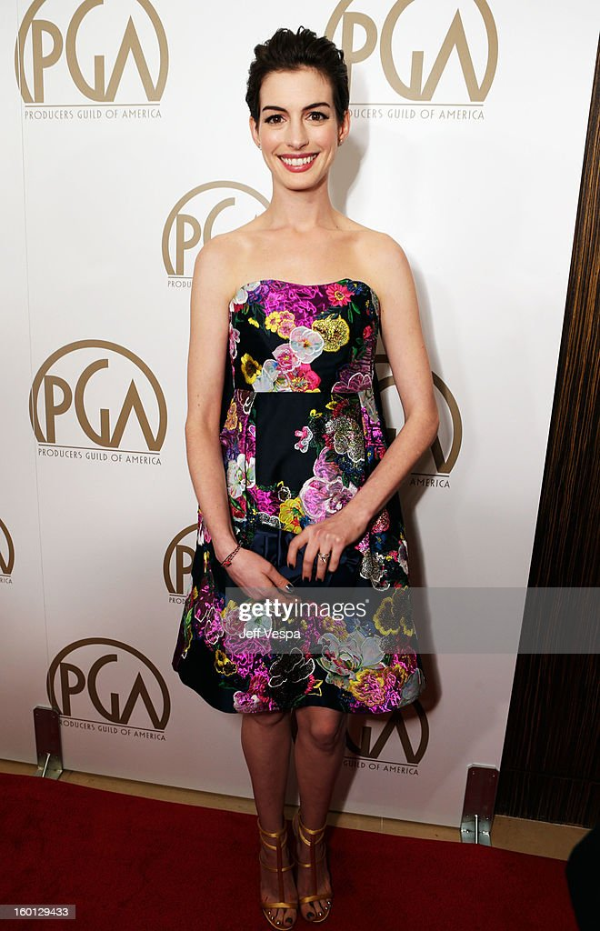 Actress Anne Hathaway arrives at the 24th Annual Producers Guild Awards held at The Beverly Hilton Hotel on January 26 2013 in Beverly Hills...