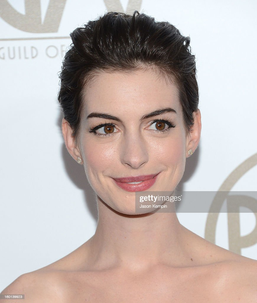 Actress Anne Hathaway arrives at the 24th Annual Producers Guild Awards held at The Beverly Hilton Hotel on January 26, 2013 in Beverly Hills, California.