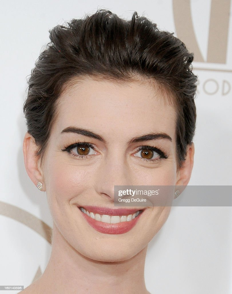 Actress Anne Hathaway arrives at the 24th Annual Producers Guild Awards at The Beverly Hilton Hotel on January 26, 2013 in Beverly Hills, California.