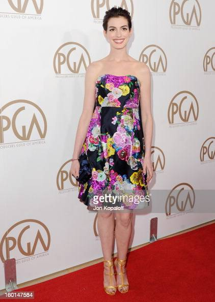 Actress Anne Hathaway arrives at the 24th Annual Producers Guild Awards at The Beverly Hilton Hotel on January 26 2013 in Beverly Hills California