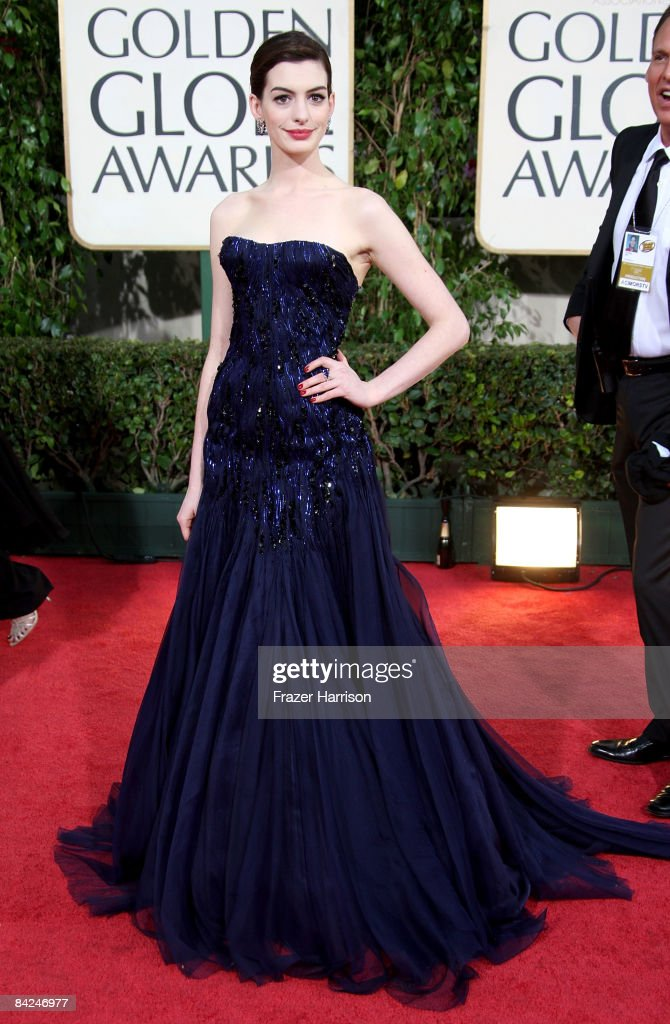 Actress Anne Hathaway arrives at the 66th Annual Golden Globe Awards held at the Beverly Hilton Hotel on January 11 2009 in Beverly Hills California