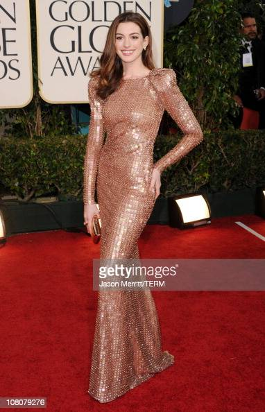 Actress Anne Hathaway arrives at the 68th Annual Golden Globe Awards held at The Beverly Hilton hotel on January 16 2011 in Beverly Hills California