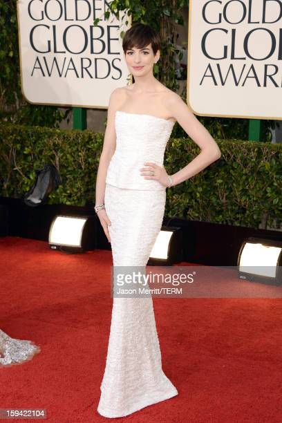 Actress Anne Hathaway arrives at the 70th Annual Golden Globe Awards held at The Beverly Hilton Hotel on January 13 2013 in Beverly Hills California