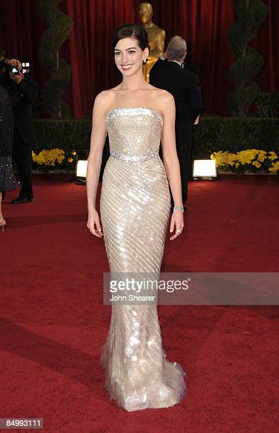 Actress Anne Hathaway arrives at the 81st Annual Academy Awards held at The Kodak Theatre on February 22 2009 in Hollywood California