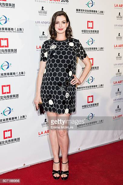 Actress Anne Hathaway arrives at the LA Art Show and Los Angeles Fine Art Show's 2016 Opening Night Premiere Party Benefiting St Jude Children's...