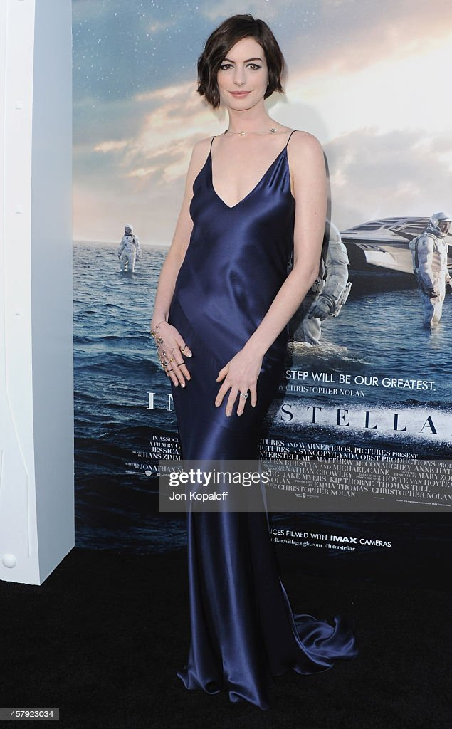 Actress Anne Hathaway arrives at the Los Angeles Premiere 'Interstellar' at TCL Chinese Theatre IMAX on October 26, 2014 in Hollywood, California.