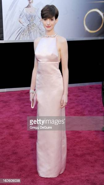 Actress Anne Hathaway arrives at the Oscars at Hollywood Highland Center on February 24 2013 in Hollywood California