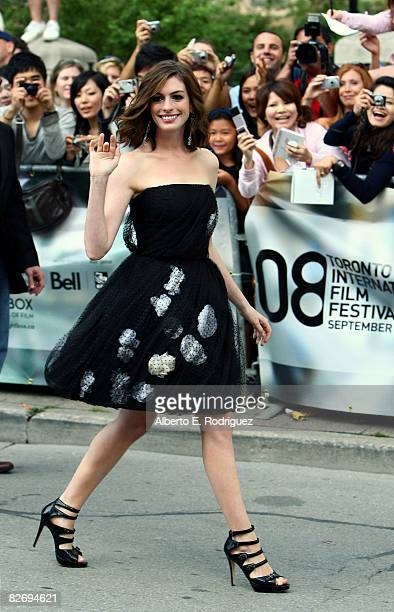 Actress Anne Hathaway arrives at the 'Rachel Getting Married' premiere held at the Roy Thomson Hall on September 6 2008 in Toronto Canada