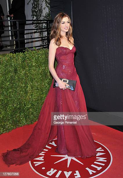 Actress Anne Hathaway arrives at the Vanity Fair Oscar party hosted by Graydon Carter held at Sunset Tower on February 27 2011 in West Hollywood...