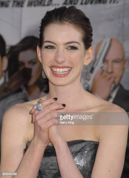 Actress Anne Hathaway arrives at The World Premiere of 'Get Smart' at the Mann Village Theatre on June 16 2008 in Westwood California