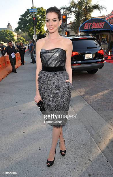 Actress Anne Hathaway arrives at Warner Bros world premiere of 'Get Smart' on June 16 2008 at the Mann Village Theatre in Westwood California