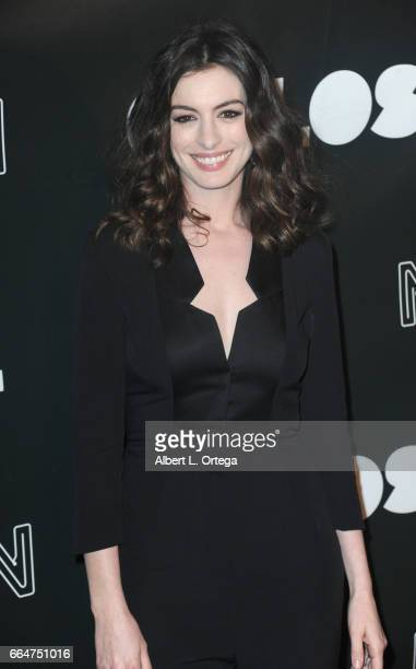Actress Anne Hathaway arrives for the Premiere Of Neon's 'Colossal' held at the Vista Theatre on April 4 2017 in Los Angeles California