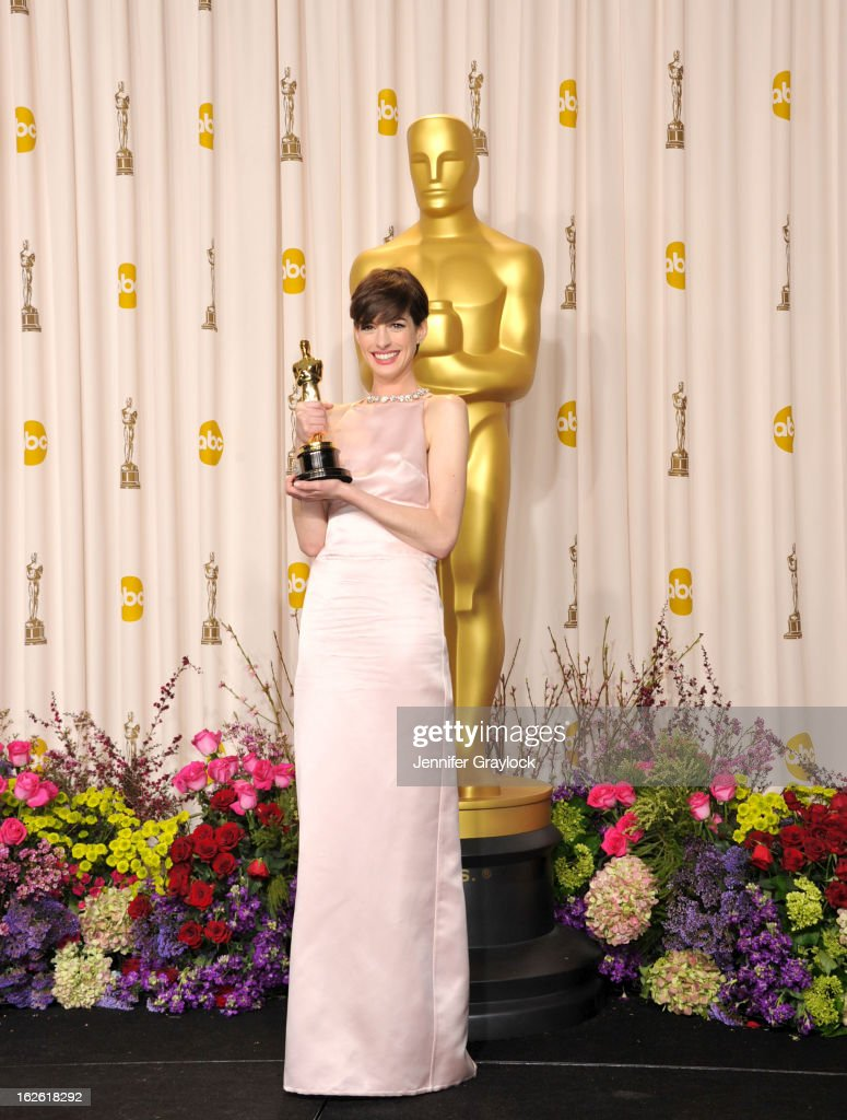 Actress Anne Hathaway arrives to the 85th Annual Academy Awards Press Room held at Hollywood & Highland Center on February 24, 2013 in Hollywood, California.