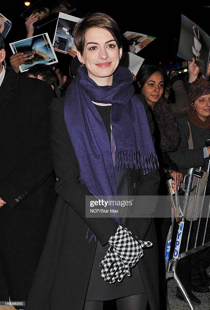 Actress <a gi-track='captionPersonalityLinkClicked' href=/galleries/search?phrase=Anne+Hathaway+-+Actress&family=editorial&specificpeople=11647173 ng-click='$event.stopPropagation()'>Anne Hathaway</a> as seen on January 7, 2013 in New York City.