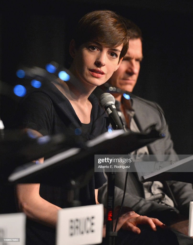 Actress <a gi-track='captionPersonalityLinkClicked' href=/galleries/search?phrase=Anne+Hathaway+-+Attrice&family=editorial&specificpeople=11647173 ng-click='$event.stopPropagation()'>Anne Hathaway</a> attends a Film Independent live read at Bing Theatre At LACMA on January 17, 2013 in Los Angeles, California.