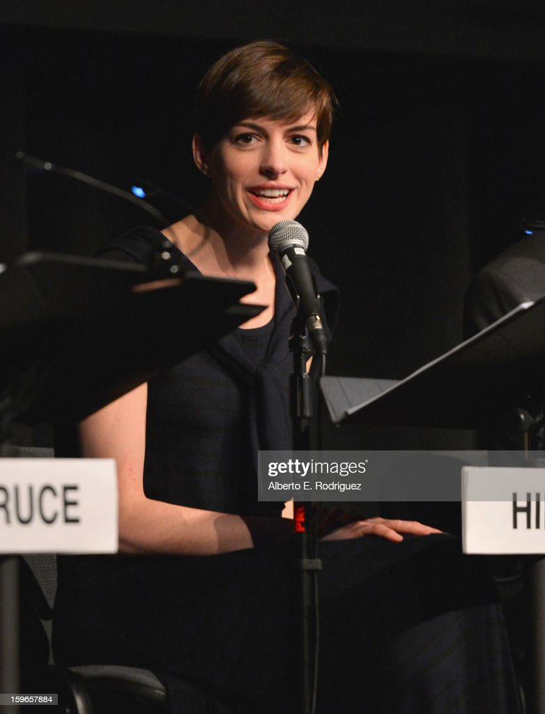 Actress <a gi-track='captionPersonalityLinkClicked' href=/galleries/search?phrase=Anne+Hathaway+-+Actrice&family=editorial&specificpeople=11647173 ng-click='$event.stopPropagation()'>Anne Hathaway</a> attends a Film Independent live read at Bing Theatre At LACMA on January 17, 2013 in Los Angeles, California.