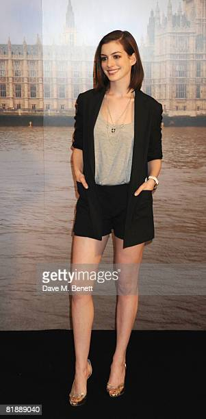 Actress Anne Hathaway attends a photocall to promote the film 'Get Smart' at Claridge's Hotel on July 10 2008 in London England