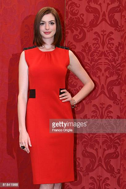 Actress Anne Hathaway attends a photocall to promote the movie 'Get Smart' at Grand Hotel Hassler on July 7 2008 in Rome Italy
