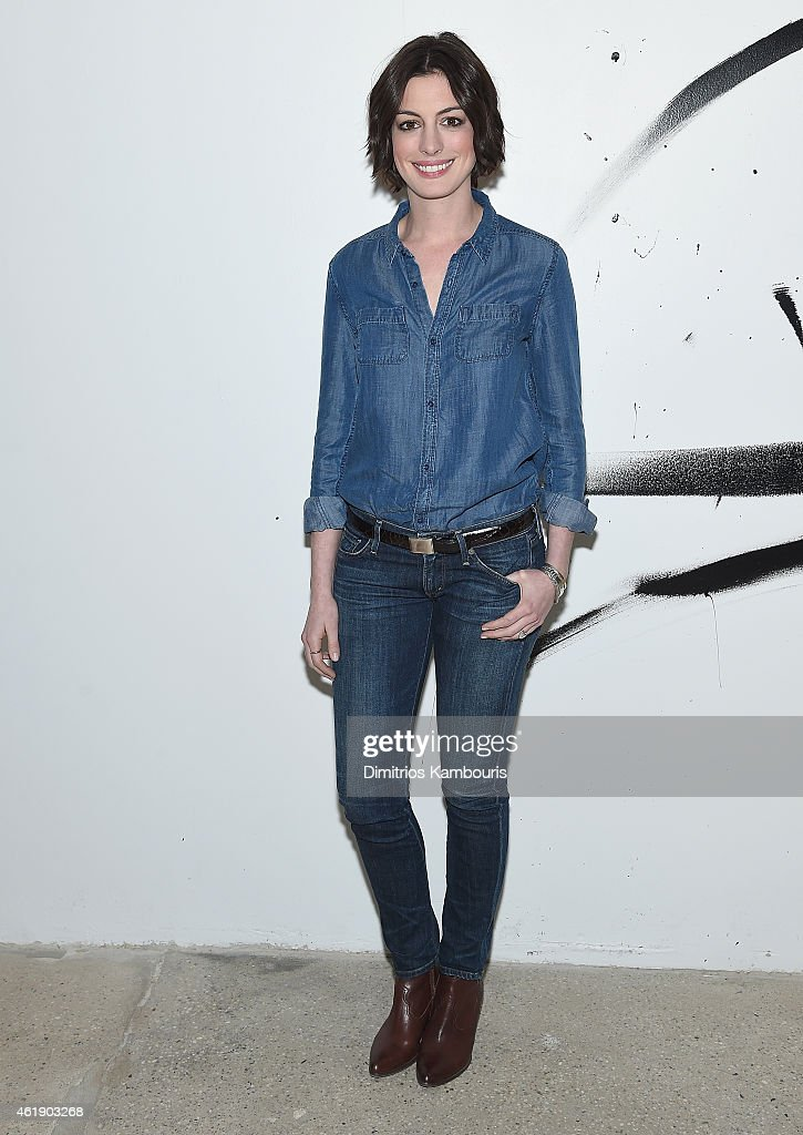 Actress Anne Hathaway attends AOL Build Speaker Series Anne Hathaway at AOL Studios In New York on January 21 2015 in New York City