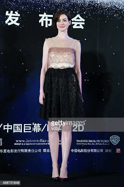Actress Anne Hathaway attends director Christopher Nolan's film 'Interstellar' premiere press conference at the Peninsula Shanghai on November 10...