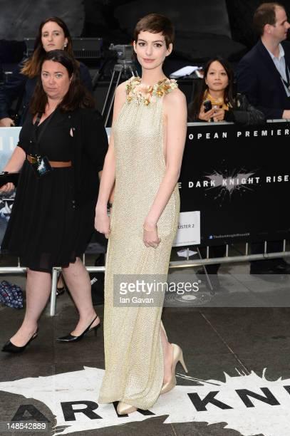 Actress Anne Hathaway attends European premiere of 'The Dark Knight Rises' at Odeon Leicester Square on July 18 2012 in London England