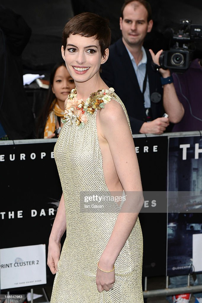 Actress Anne Hathaway attends European premiere of 'The Dark Knight Rises' at Odeon Leicester Square on July 18, 2012 in London, England.