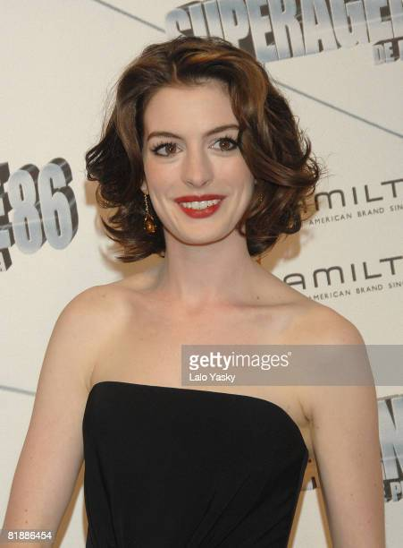 Actress Anne Hathaway attends Get Smart premiere at the Capitol Cinema on July 8 2008 in Madrid Spain
