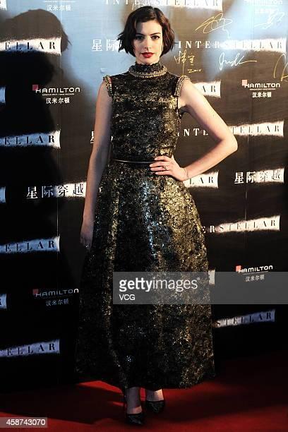 Actress Anne Hathaway attends 'Interstellar' premiere at UME Cinema on November 10 2014 in Shanghai China