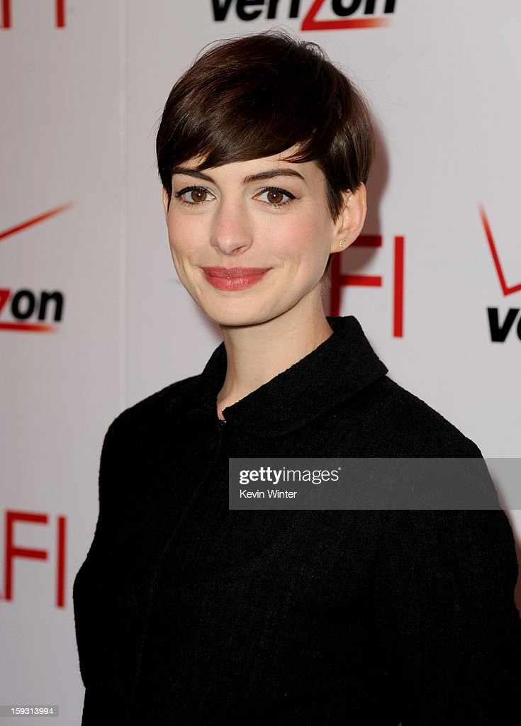 Actress Anne Hathaway attends the 13th Annual AFI Awards at Four Seasons Los Angeles at Beverly Hills on January 11, 2013 in Beverly Hills, California.