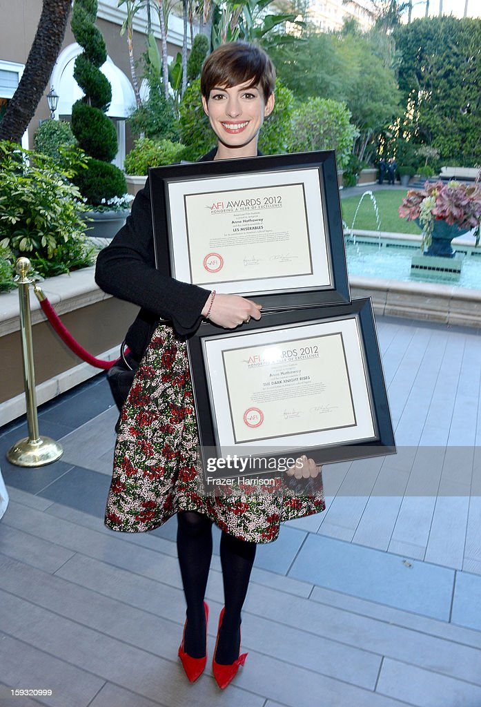 Actress <a gi-track='captionPersonalityLinkClicked' href=/galleries/search?phrase=Anne+Hathaway+-+Actress&family=editorial&specificpeople=11647173 ng-click='$event.stopPropagation()'>Anne Hathaway</a> attends the 13th Annual AFI Awards at Four Seasons Los Angeles at Beverly Hills on January 11, 2013 in Beverly Hills, California.
