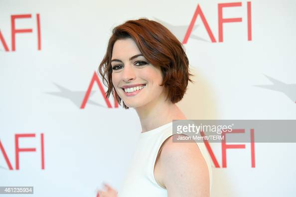 Actress Anne Hathaway attends the 15th Annual AFI Awards at Four Seasons Hotel Los Angeles at Beverly Hills on January 9 2015 in Beverly Hills...