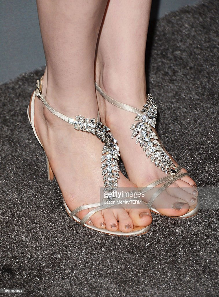Actress Anne Hathaway (shoe detail) attends the 15th Annual Costume Designers Guild Awards with presenting sponsor Lacoste at The Beverly Hilton Hotel on February 19, 2013 in Beverly Hills, California.
