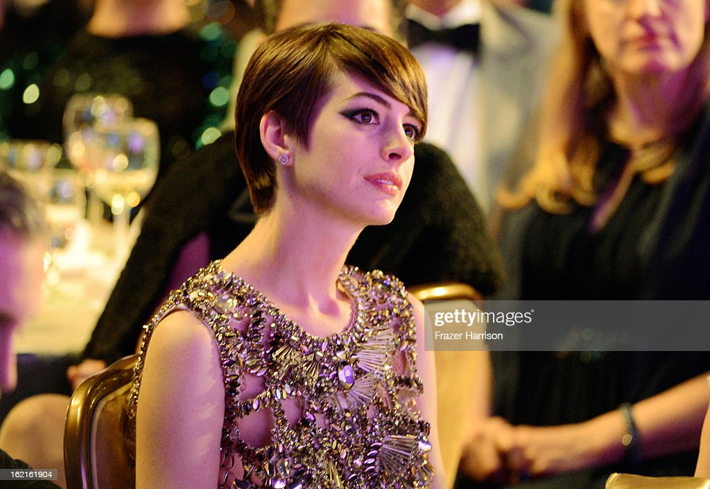 Actress Anne Hathaway attends the 15th Annual Costume Designers Guild Awards with presenting sponsor Lacoste at The Beverly Hilton Hotel on February 19, 2013 in Beverly Hills, California.