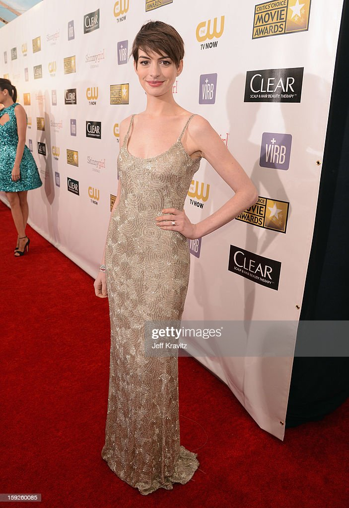 Actress <a gi-track='captionPersonalityLinkClicked' href=/galleries/search?phrase=Anne+Hathaway+-+Actress&family=editorial&specificpeople=11647173 ng-click='$event.stopPropagation()'>Anne Hathaway</a> attends the 18th Annual Critics' Choice Movie Awards at Barker Hangar on January 10, 2013 in Santa Monica, California.