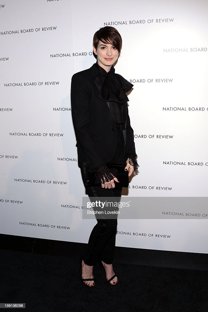 Actress <a gi-track='captionPersonalityLinkClicked' href=/galleries/search?phrase=Anne+Hathaway+-+Actress&family=editorial&specificpeople=11647173 ng-click='$event.stopPropagation()'>Anne Hathaway</a> attends the 2013 National Board Of Review Awards at Cipriani 42nd Street on January 8, 2013 in New York City.