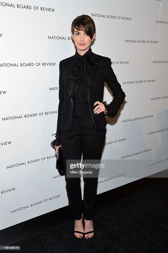 Actress <a gi-track='captionPersonalityLinkClicked' href=/galleries/search?phrase=Anne+Hathaway+-+Actress&family=editorial&specificpeople=11647173 ng-click='$event.stopPropagation()'>Anne Hathaway</a> attends the 2013 National Board Of Review Awards Gala at Cipriani 42nd Street on January 8, 2013 in New York City.
